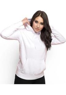 Moletom Feminino Liso Abrigo Inverno Blusa Casaco Com Capuz - Feminino-Branco