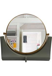 Espelho De Resina E Metal Dourado