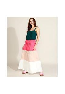 Vestido Feminino Longo Alças Médias Com Botões E Recortes Multicor