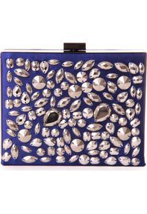 Bolsa Clutch Real Arte Com Pedrarias Azul - Azul - Feminino - Dafiti