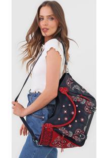 Bolsa Tiracolo Shoulder Bag Bandana Expl Azul - Azul - Feminino - Dafiti