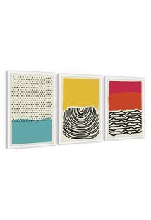 Quadro 40X90Cm Abstrato Colorido Artelana Moldura Branca Com Vidro Decorativo Oppen House