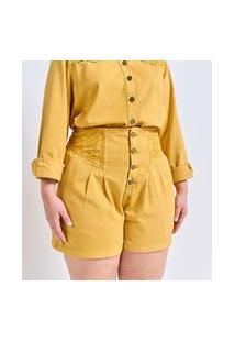 Short Liso Em Sarja Com Bordado Nas Laterais Curve & Plus Size | Ashua Curve E Plus Size | Amarelo | 48