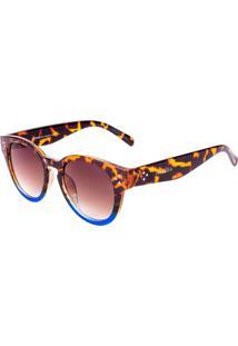 Óculos De Sol Conbelive Redondo Tartaruga Com Azul - Kanui