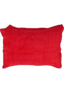 Porta Travesseiro 50X70Cm Fleece Andreza Vermelho