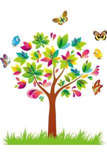 Adesivo De Parede Árvore & Borboletas- Verde & Amarelo