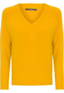Blusa Feminina Tricot Decote V - Amarelo