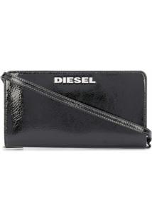 Diesel Carteira Com Alça De Ombro E Acabamento De Brilho - Preto