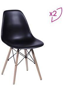 Or Design Jogo De Cadeiras Eames Dkr Preto & Madeira 2Pã§S