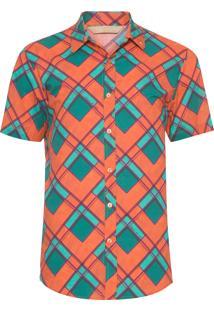 Camisa Masculina C/ Mangas Folhagem - Laranja