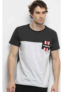 Camiseta Polo Rg 518 Poá Bolso Masculina - Masculino-Preto