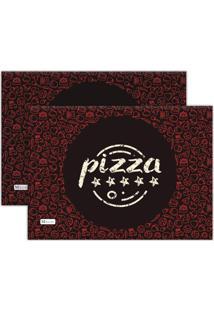 Kit 2Pçs Jogo Americano Mdecor Pizza 40X28Cm Preto