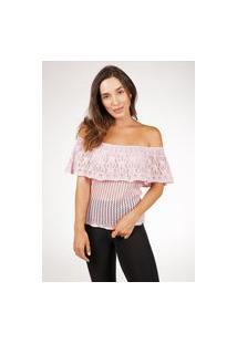 Blusa Pink Tricot Ciganinha Ombro A Ombro De Tricot Rendada Feminina