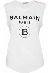 Balmain Blusa Com Estampa De Logo - Branco