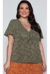 Blusa Almaria Plus Size Pianeta Crepe Verde Verde