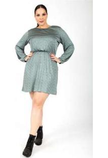 Vestido Almaria Plus Size Lady More Malha Lurex Verde Verde