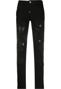Philipp Plein Calça Jeans Skinny Rock Cintura Baixa - Preto