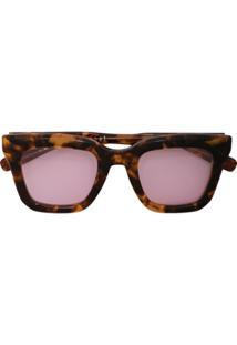 Sacai Óculos De Sol Retangular Tartaruga - Marrom