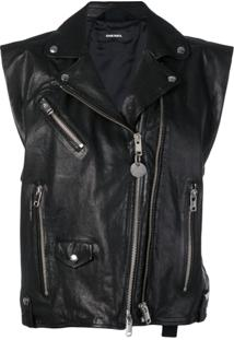 Diesel L-Droppet Sleeveless Biker Jacket - Preto