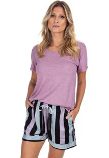 Pijama Curto Com Bolso Listrado Rosê