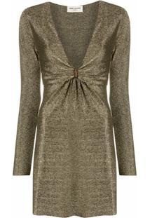 Saint Laurent Vestido Decote Profundo Metálico - Dourado