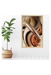 Quadro Love Decor Com Moldura Abstrato Madeira Clara Grande