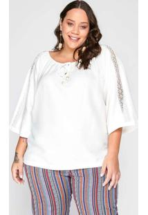 Bata Almaria Plus Size Garage Renda Branco