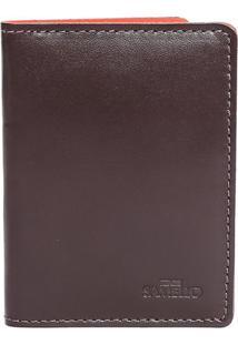 Carteira Lisa Em Couro- Marrom Escuro- 11X8X1Cmsamello