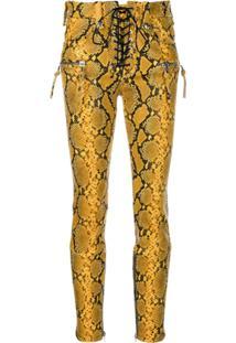 Unravel Project Calça Skinny Com Animal Print - Amarelo