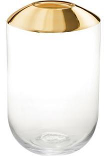 Vaso - Incolor & Dourado- 22,5Xø14Cm- Martmart