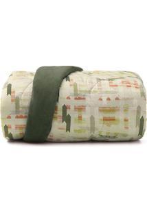 Edredom New Confort Queen Size- Verde Claro & Laranja