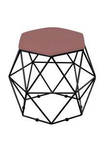 Puff Decorativo Aramado Preto Six Suede Rosê - Lyam Decor