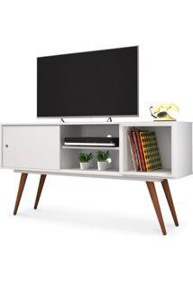 Rack Para Tv 40 Polegadas, Com Porta Deslizante E Prateleira, Branco, Vintage 65 Ii