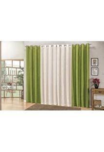 Cortina Paloma Em Tecido Seda Verde Para Sala 2,00 X 1,80
