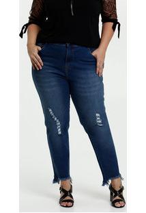 Calça Jeans Puídos Cigarrete Feminina Plus Size Marisa
