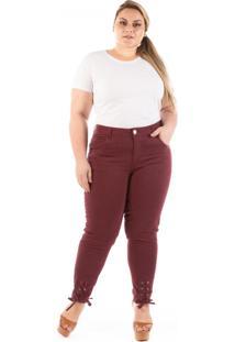 Calça Jeans Plus Size - Confidencial Extra Lace Up Pantacourt Plus Size - Tricae