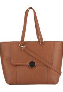 Bolsa Shopping Bag Gabriela Com Recortes Caramelo