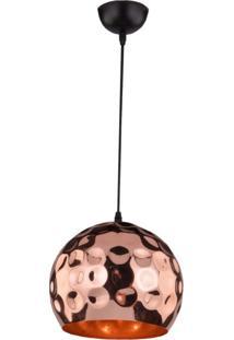 Pendente Cúpula Em Aço E Detalhes Circulares Td 3023 Taschibra Cobre