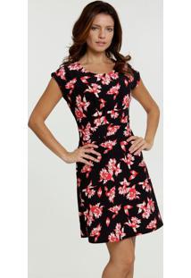 Vestido Feminino Piquet Estampa Floral Marisa