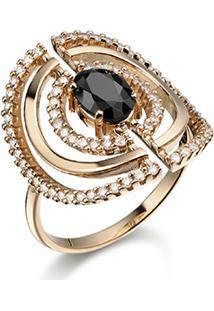 Anel Ouro Rosã© Quartzo Negro E Diamantes