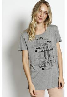 Camiseta Com Inscrições & Aplicações- Cinza & Pretalez A Lez