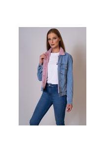Jaqueta Jeans Aero Jeans Forrada Com Pelo Rosa