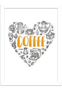 Quadro Decorativo Love Coffe Branco - Grande