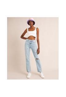 Calça Jeans Destroyed Reta Cintura Baixa Azul Claro