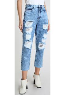 Calça Jeans Feminina Bbb Mom Cropped Cintura Super Alta Destroyed Azul Médio
