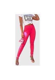 Calça Feminina Lallie Skinny Cós Alto Botões Pink
