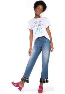 Calça Jeans Reta Barra Com Franjas
