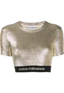 Paco Rabanne Blusa Cropped Metalizada - Dourado