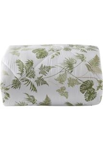 Edredom Tropical Folhagens Casal- Branco & Verde Claro
