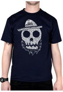 Camiseta Bleed American Beard Skull Marinho